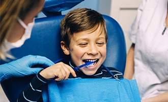 happy child at the dentist